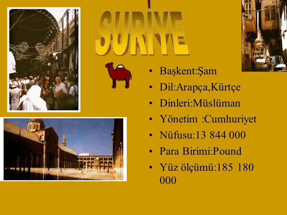 SURİYE Başkent:Şam Dil:Arapça,Kürtçe Dinleri:Müslüman