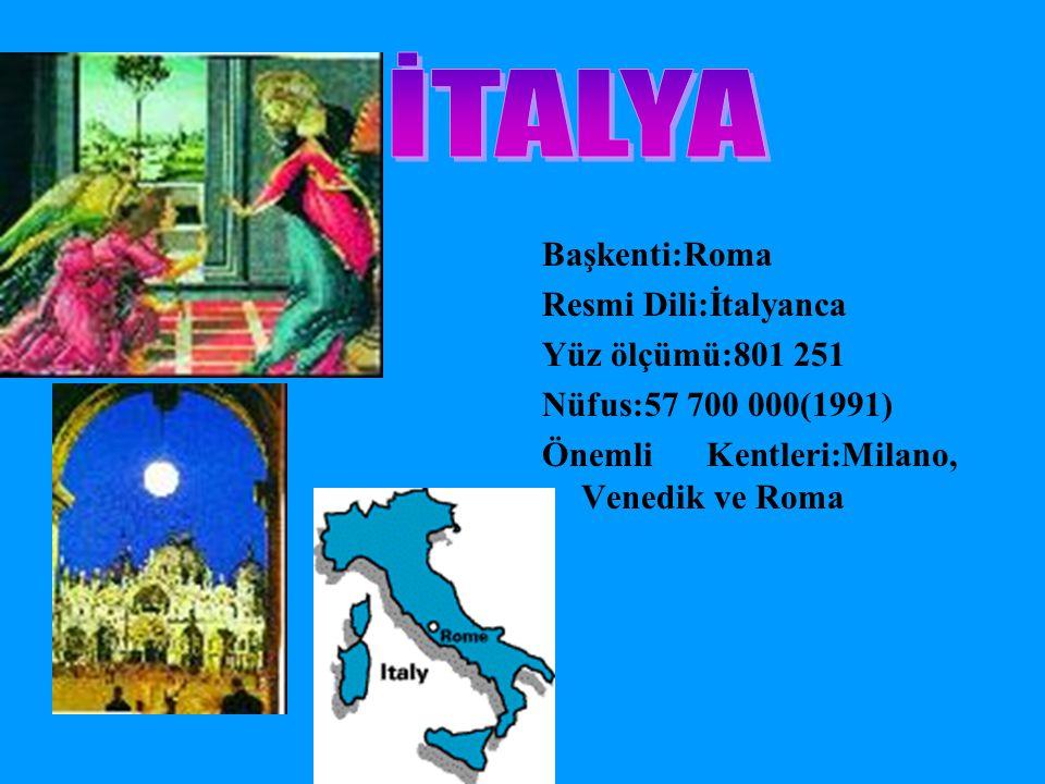 İTALYA Başkenti:Roma Resmi Dili:İtalyanca Yüz ölçümü:801 251