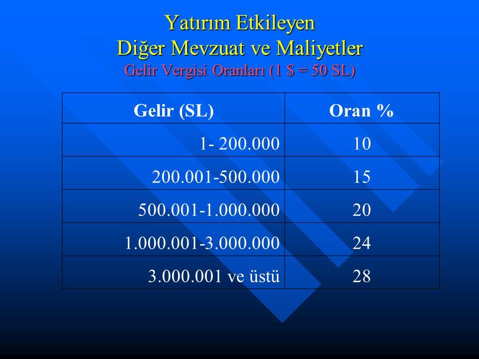 Yatırım Etkileyen Diğer Mevzuat ve Maliyetler Gelir Vergisi Oranları (1 $ = 50 SL)