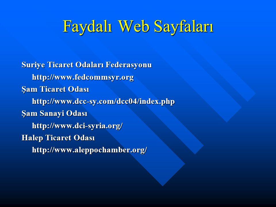 Faydalı Web Sayfaları Suriye Ticaret Odaları Federasyonu
