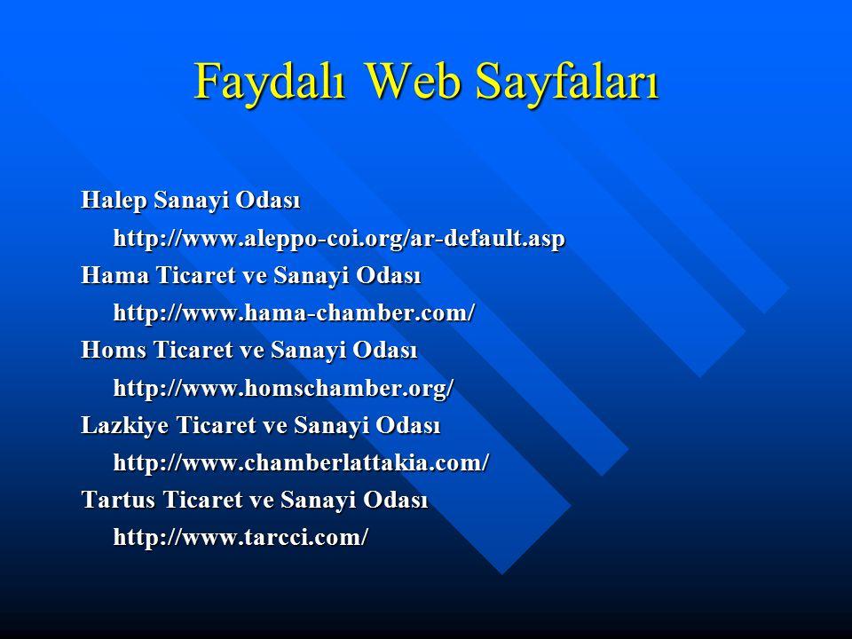 Faydalı Web Sayfaları Halep Sanayi Odası