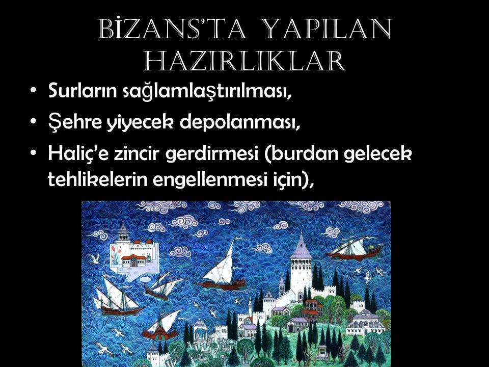 BİZANS'TA YAPILAN HAZIRLIKLAR