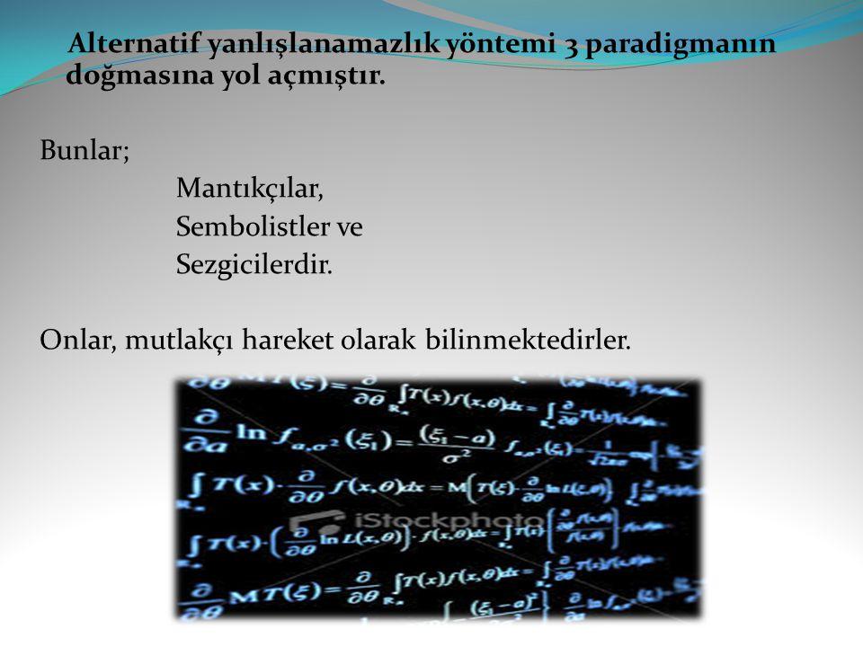 Alternatif yanlışlanamazlık yöntemi 3 paradigmanın doğmasına yol açmıştır.
