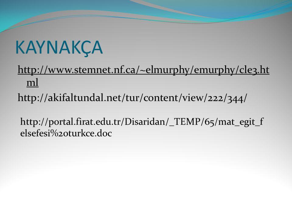 KAYNAKÇA http://www.stemnet.nf.ca/~elmurphy/emurphy/cle3.html http://akifaltundal.net/tur/content/view/222/344/