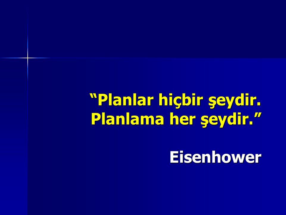 Planlar hiçbir şeydir. Planlama her şeydir. Eisenhower