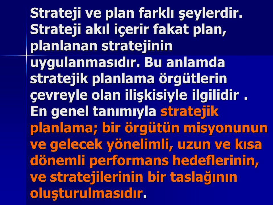 Strateji ve plan farklı şeylerdir