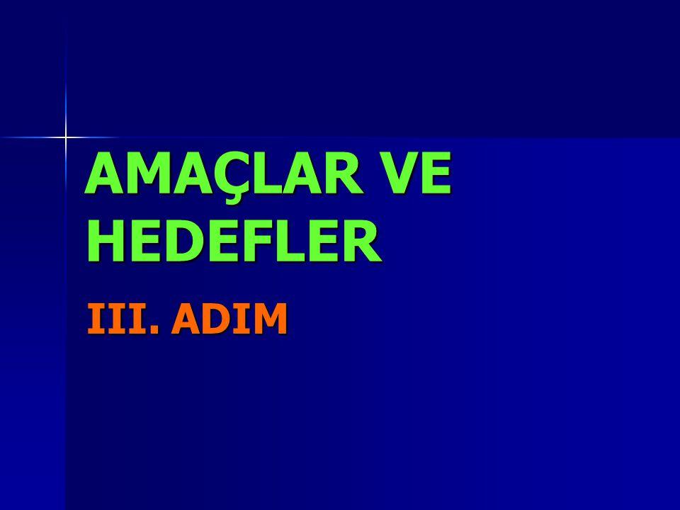 AMAÇLAR VE HEDEFLER III. ADIM