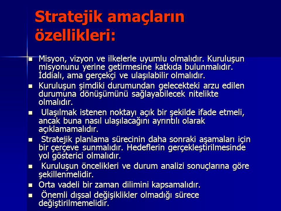 Stratejik amaçların özellikleri: