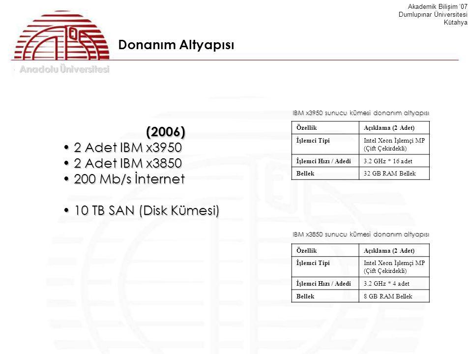 Donanım Altyapısı (2006) 2 Adet IBM x3950 2 Adet IBM x3850
