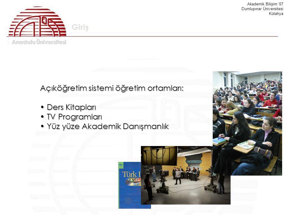 Açıköğretim sistemi öğretim ortamları: Ders Kitapları TV Programları