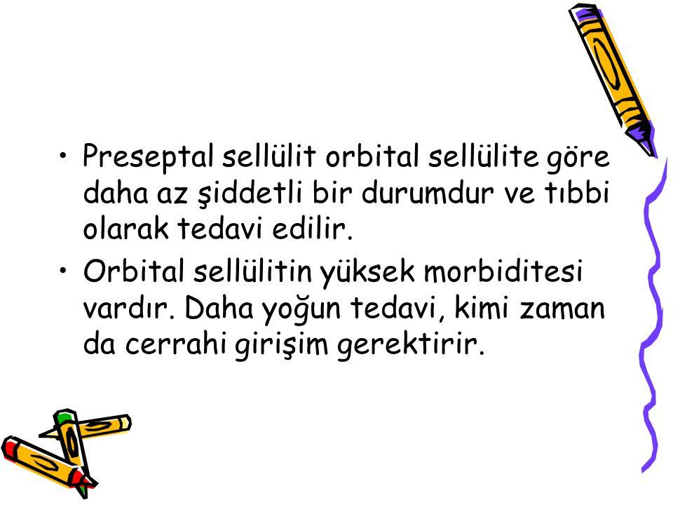 Preseptal sellülit orbital sellülite göre daha az şiddetli bir durumdur ve tıbbi olarak tedavi edilir.