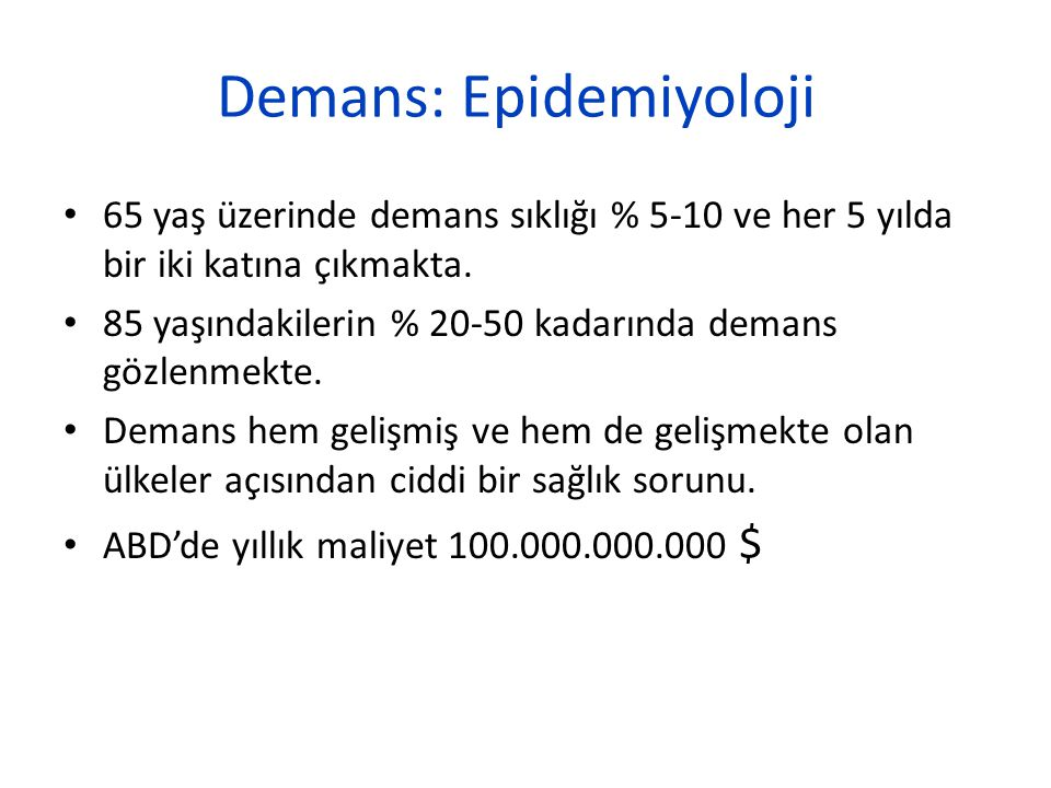 Demans: Epidemiyoloji