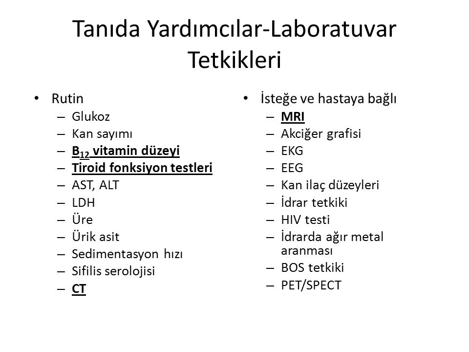 Tanıda Yardımcılar-Laboratuvar Tetkikleri