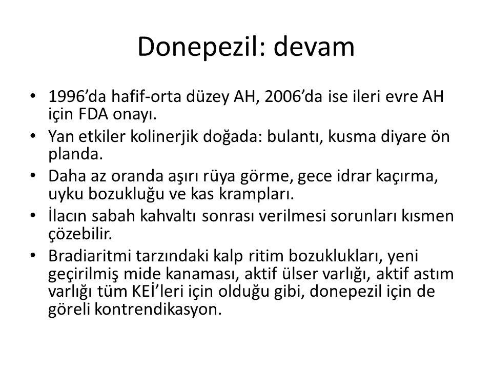 Donepezil: devam 1996'da hafif-orta düzey AH, 2006'da ise ileri evre AH için FDA onayı.