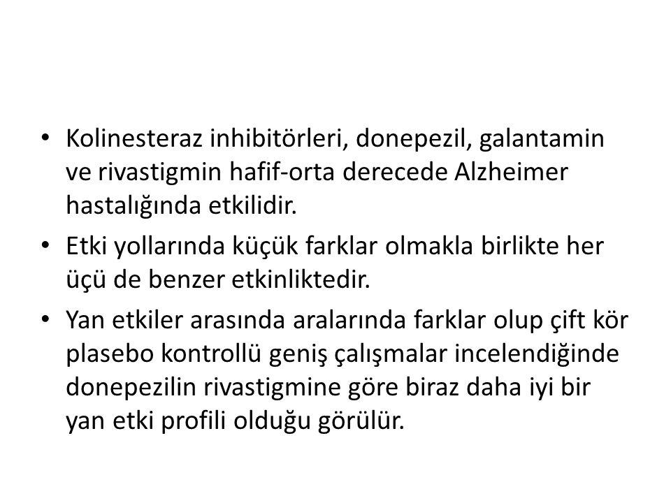 Kolinesteraz inhibitörleri, donepezil, galantamin ve rivastigmin hafif-orta derecede Alzheimer hastalığında etkilidir.