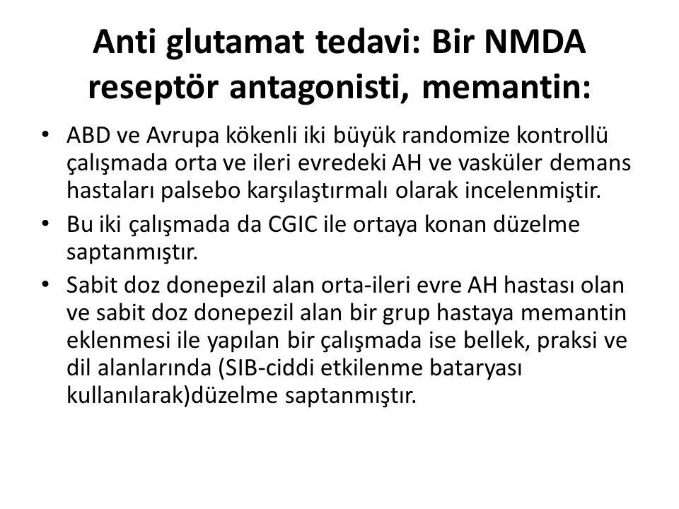 Anti glutamat tedavi: Bir NMDA reseptör antagonisti, memantin:
