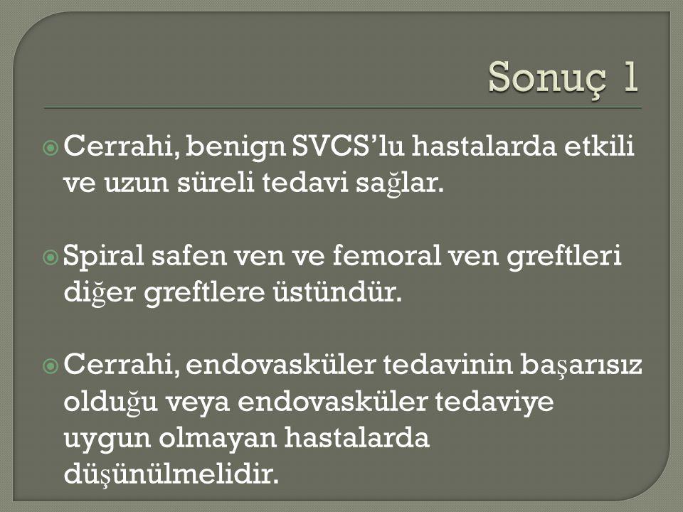 Sonuç 1 Cerrahi, benign SVCS'lu hastalarda etkili ve uzun süreli tedavi sağlar. Spiral safen ven ve femoral ven greftleri diğer greftlere üstündür.