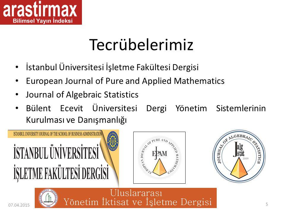 Tecrübelerimiz İstanbul Üniversitesi İşletme Fakültesi Dergisi