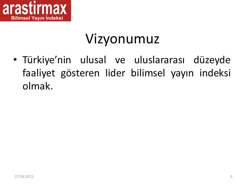 Vizyonumuz Türkiye'nin ulusal ve uluslararası düzeyde faaliyet gösteren lider bilimsel yayın indeksi olmak.