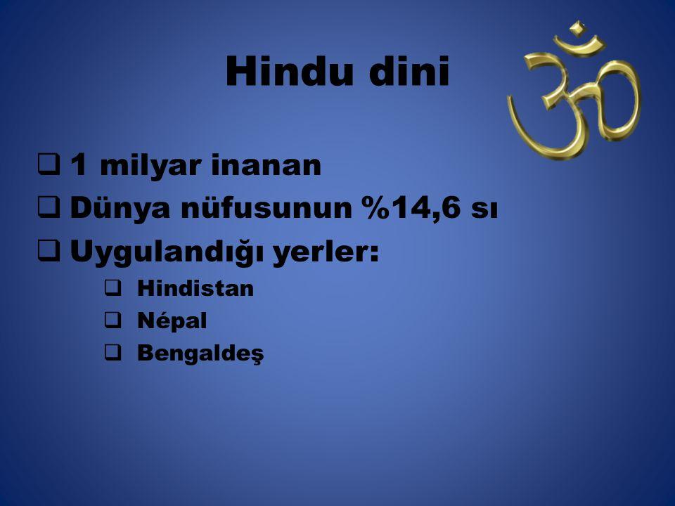 Hindu dini 1 milyar inanan Dünya nüfusunun %14,6 sı