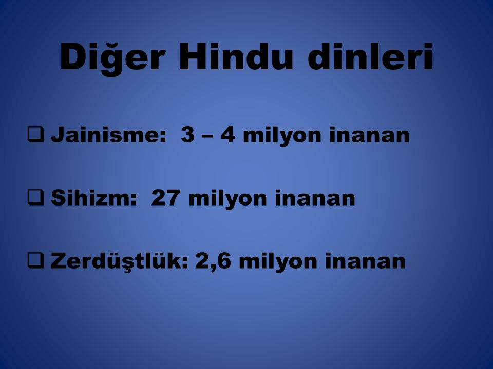Diğer Hindu dinleri Jainisme: 3 – 4 milyon inanan