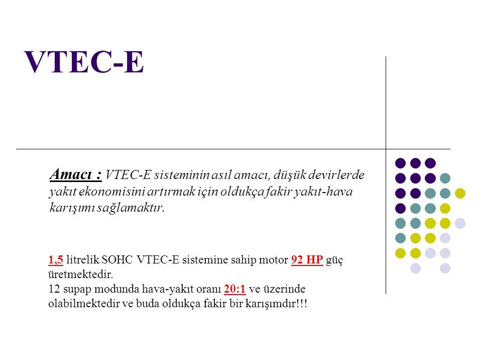 VTEC-E Amacı : VTEC-E sisteminin asıl amacı, düşük devirlerde yakıt ekonomisini artırmak için oldukça fakir yakıt-hava karışımı sağlamaktır.