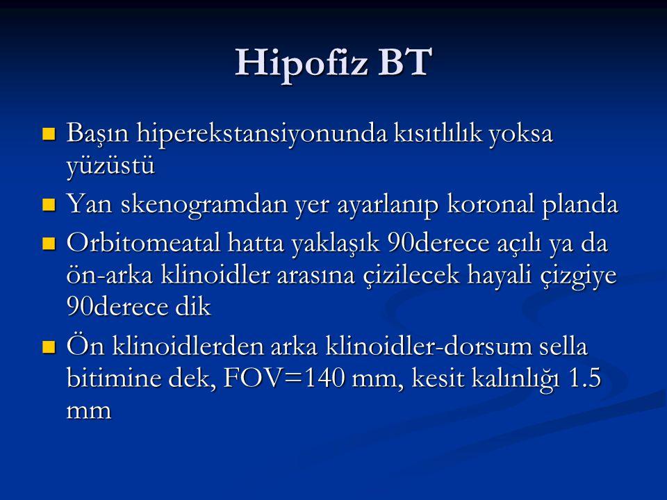 Hipofiz BT Başın hiperekstansiyonunda kısıtlılık yoksa yüzüstü