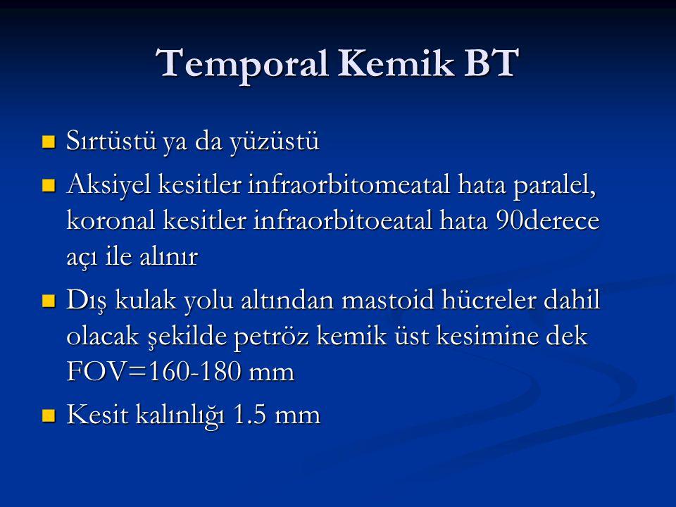 Temporal Kemik BT Sırtüstü ya da yüzüstü
