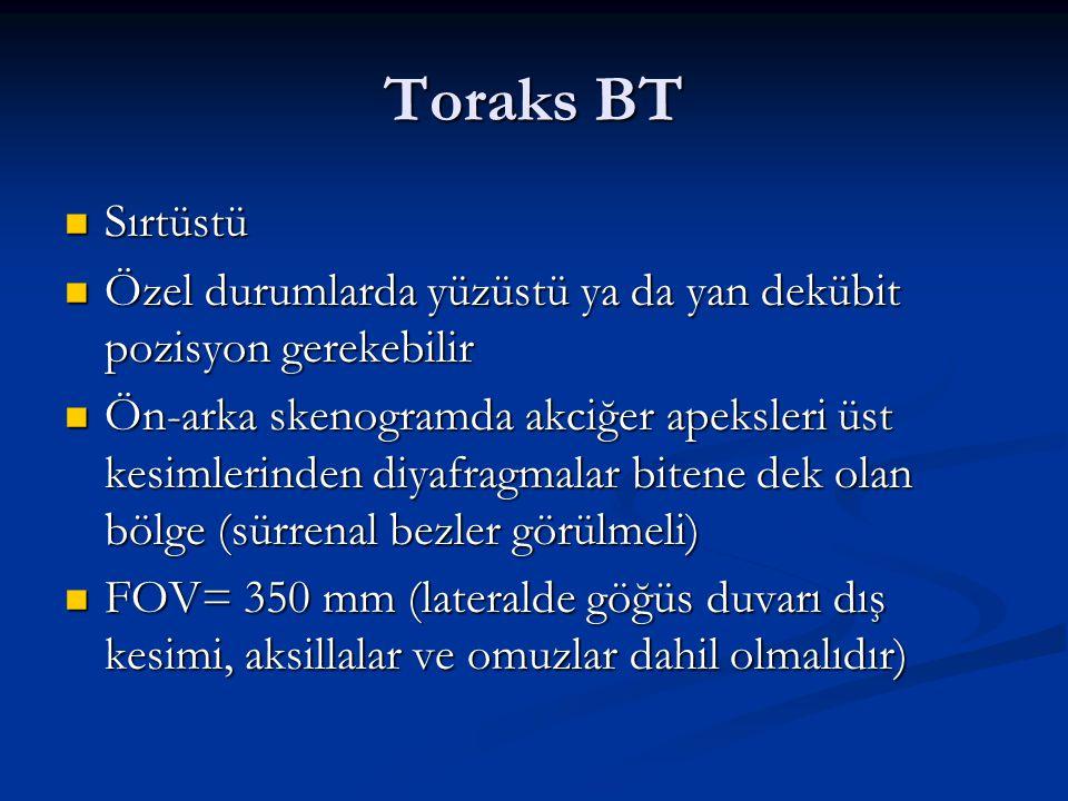 Toraks BT Sırtüstü. Özel durumlarda yüzüstü ya da yan dekübit pozisyon gerekebilir.