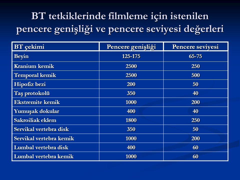 BT tetkiklerinde filmleme için istenilen pencere genişliği ve pencere seviyesi değerleri