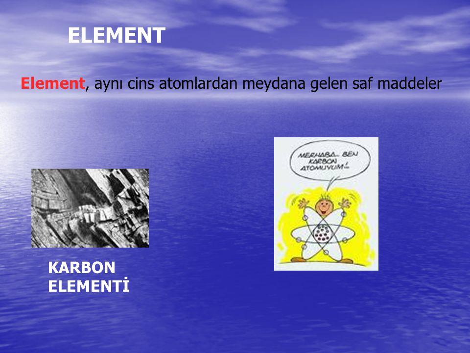 ELEMENT Element, aynı cins atomlardan meydana gelen saf maddeler