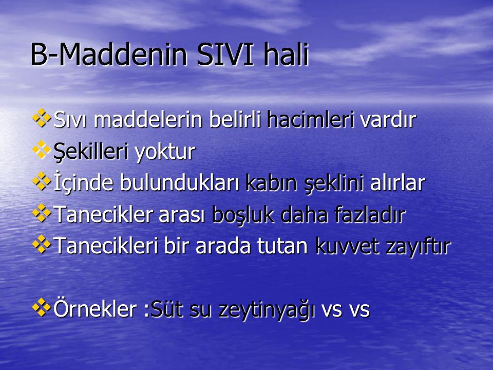 B-Maddenin SIVI hali Sıvı maddelerin belirli hacimleri vardır