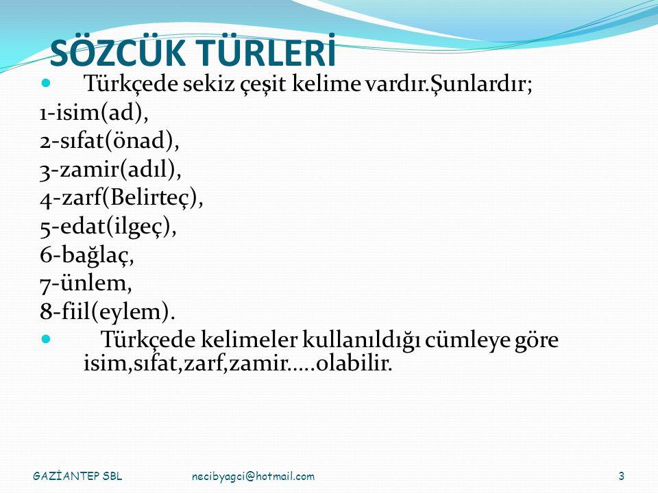 SÖZCÜK TÜRLERİ Türkçede sekiz çeşit kelime vardır.Şunlardır;
