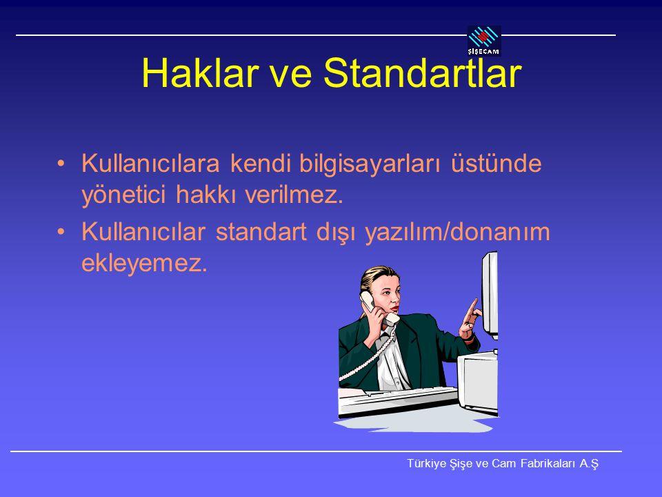 Haklar ve Standartlar Kullanıcılara kendi bilgisayarları üstünde yönetici hakkı verilmez.