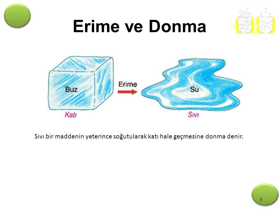 Erime ve Donma Sıvı bir maddenin yeterince soğutularak katı hale geçmesine donma denir.