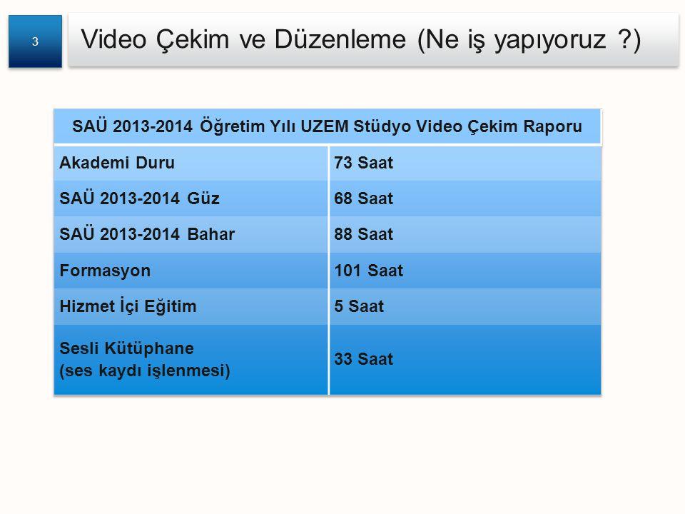 SAÜ 2013-2014 Öğretim Yılı UZEM Stüdyo Video Çekim Raporu