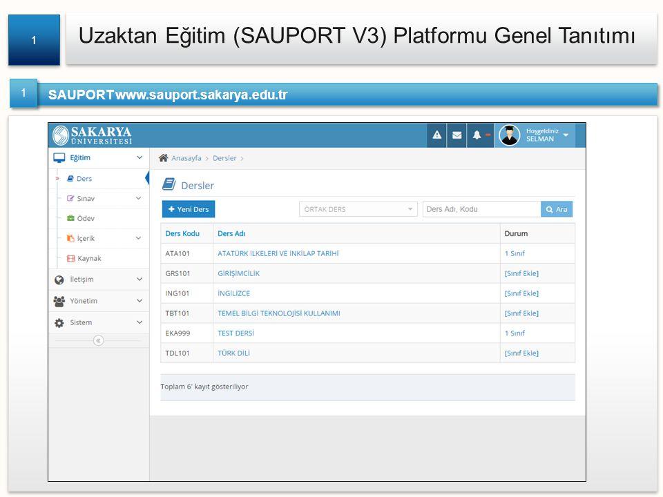 Uzaktan Eğitim (SAUPORT V3) Platformu Genel Tanıtımı