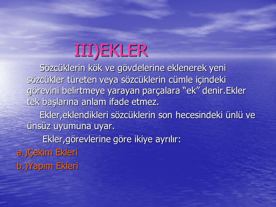 III)EKLER