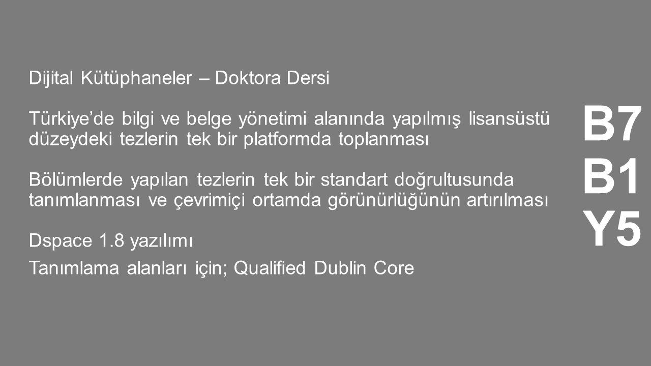 Dijital Kütüphaneler – Doktora Dersi Türkiye'de bilgi ve belge yönetimi alanında yapılmış lisansüstü düzeydeki tezlerin tek bir platformda toplanması Bölümlerde yapılan tezlerin tek bir standart doğrultusunda tanımlanması ve çevrimiçi ortamda görünürlüğünün artırılması Dspace 1.8 yazılımı Tanımlama alanları için; Qualified Dublin Core