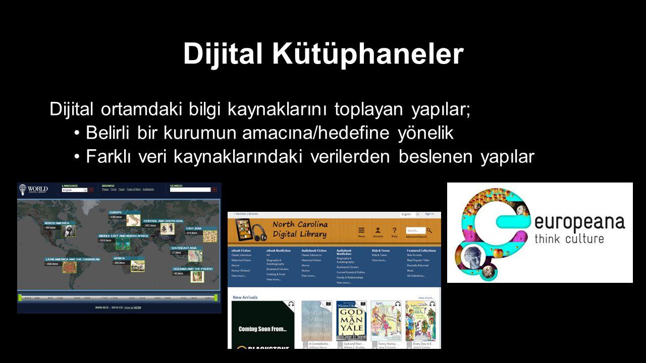 Dijital Kütüphaneler Dijital ortamdaki bilgi kaynaklarını toplayan yapılar; Belirli bir kurumun amacına/hedefine yönelik.