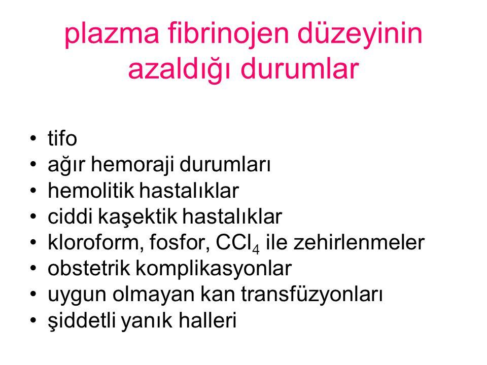 plazma fibrinojen düzeyinin azaldığı durumlar
