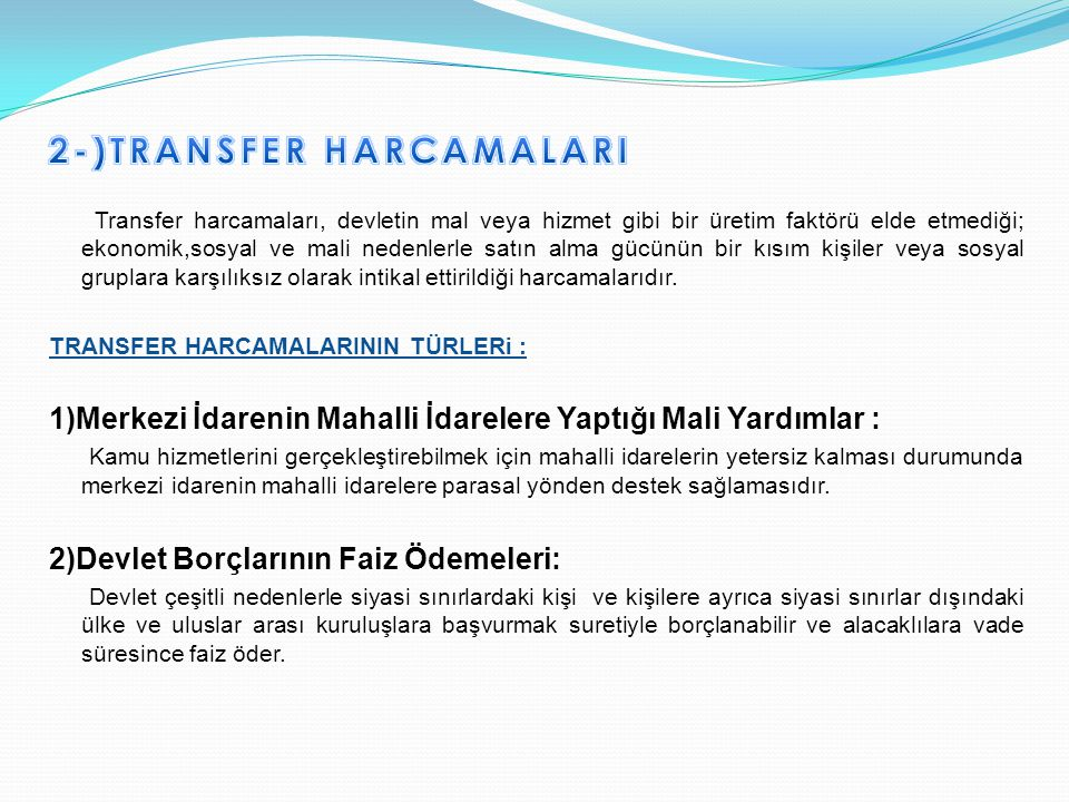 2-)TRANSFER HARCAMALARI
