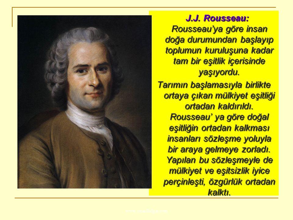 J.J. Rousseau: Rousseau'ya göre insan doğa durumundan başlayıp toplumun kuruluşuna kadar tam bir eşitlik içerisinde yaşıyordu.