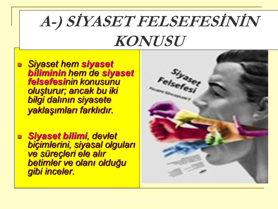 A-) SİYASET FELSEFESİNİN KONUSU