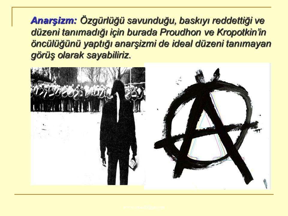 Anarşizm: Özgürlüğü savunduğu, baskıyı reddettiği ve düzeni tanımadığı için burada Proudhon ve Kropotkin'in öncülüğünü yaptığı anarşizmi de ideal düzeni tanımayan görüş olarak sayabiliriz.