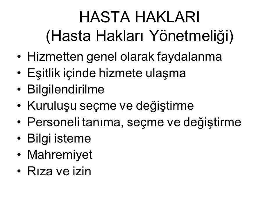 HASTA HAKLARI (Hasta Hakları Yönetmeliği)