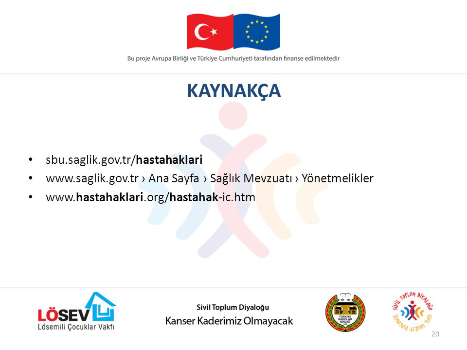 KAYNAKÇA sbu.saglik.gov.tr/hastahaklari