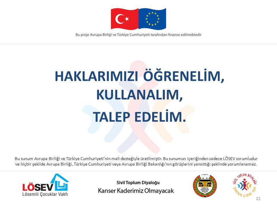 HAKLARIMIZI ÖĞRENELİM, KULLANALIM, TALEP EDELİM.