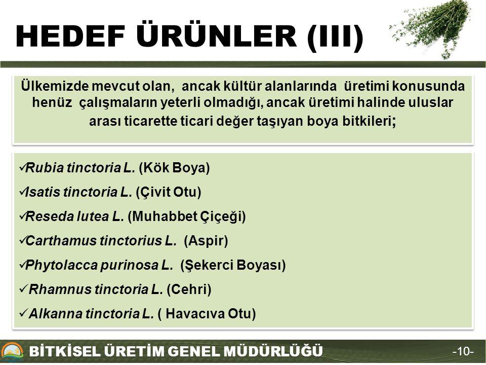 HEDEF ÜRÜNLER (III)