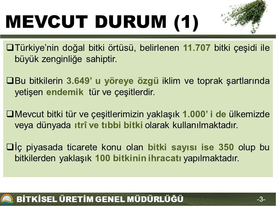 MEVCUT DURUM (1) Türkiye'nin doğal bitki örtüsü, belirlenen 11.707 bitki çeşidi ile büyük zenginliğe sahiptir.